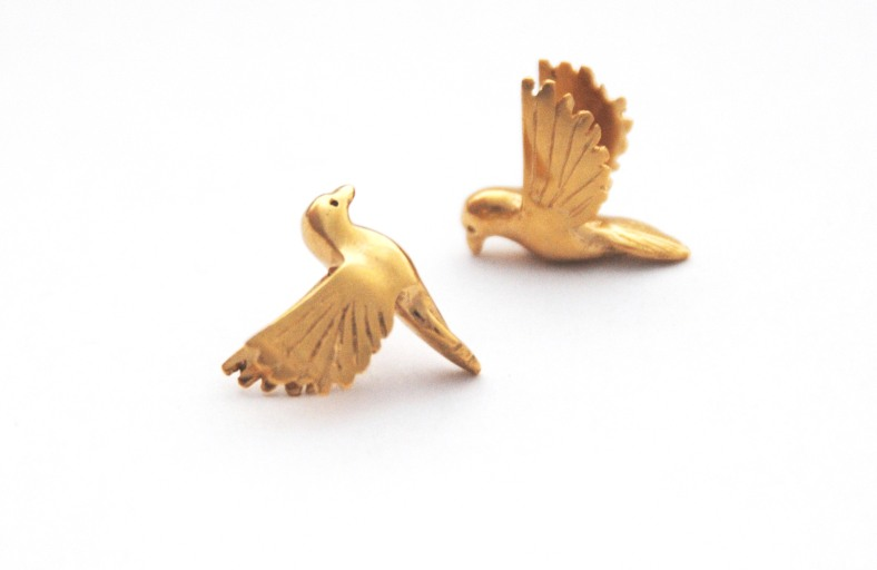 (c) Alice Stewart Gold Bird Earrings