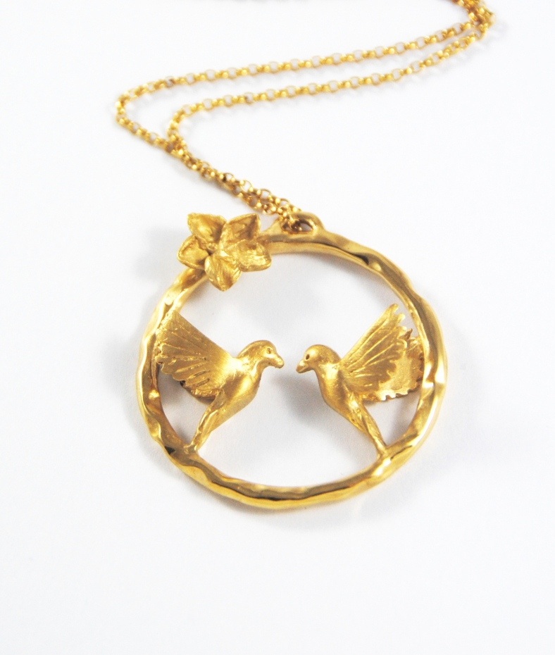 Alice Stewart Gold Love Bird Necklace